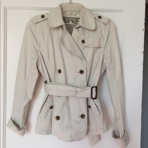 Cotton cropped trench coat jacket